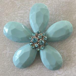 Jewelry - Large Seafoam Enamel & Rhinestone Flower Brooch